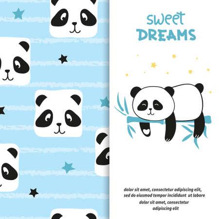 Cute sleeping panda bear. Sweet dreams vector set.