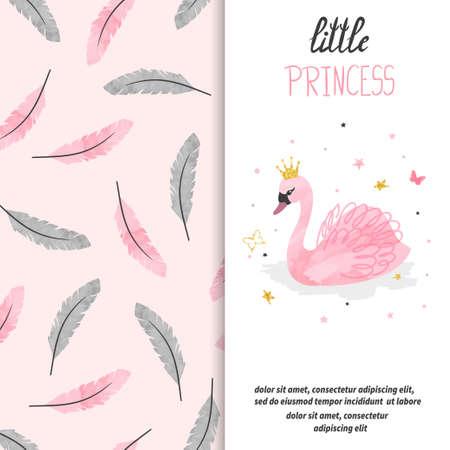 Birthday card design for little girl. Vector illustration of cute princess swan. Standard-Bild - 124348304