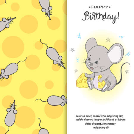 Birthday card design for kidsl. Vector illustration of cute mouse with cheese. Standard-Bild - 124348306