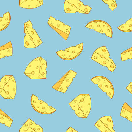 Seamless cheese pattern. Vector background with pieces of cheese. Standard-Bild - 124348305