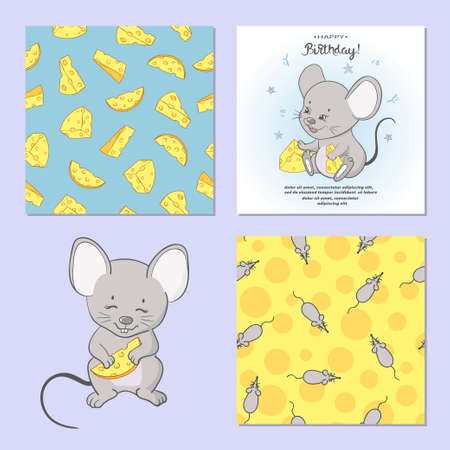 Mouse and cheese set. Seamless cheese patterns and cartoon mice. Standard-Bild - 124348307