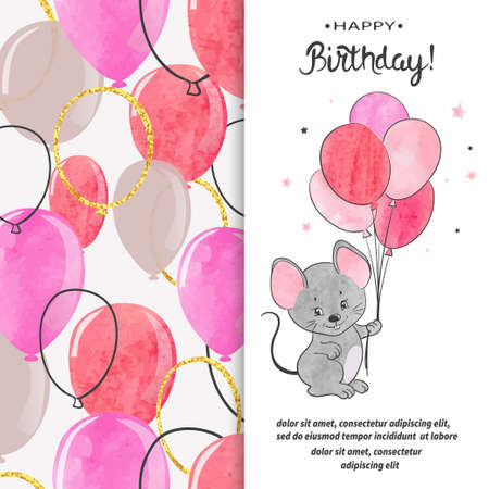 Happy Birthday greeting card design with cute mouse and balloons. Standard-Bild - 124348309