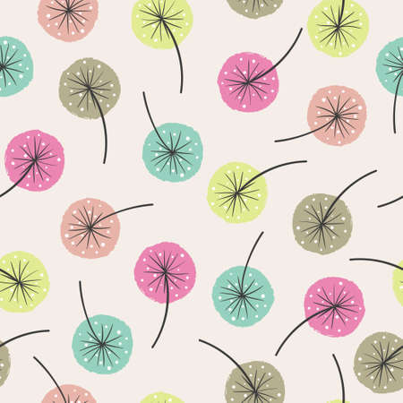 Seamless abstract floral pattern. Vector background with colorful flowers. Standard-Bild - 124348313