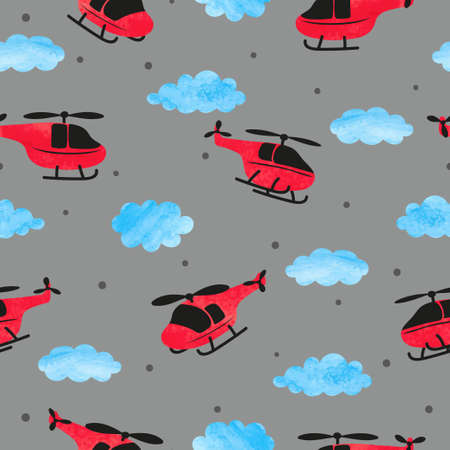 Seamless childish pattern with watercolor helicopters and clouds. Standard-Bild - 124348319