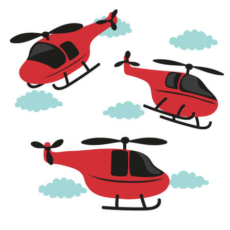 Vector set ot red cartoon helicopters. Standard-Bild - 124348323