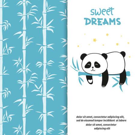 Cute sleeping panda bear. Sweet dreams vector set with bamboo pattern. Standard-Bild - 124884637