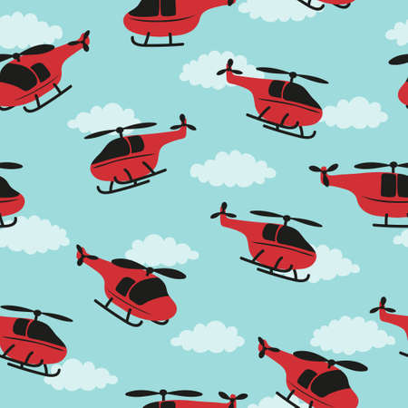 Seamless childish pattern with red helicopters and clouds. Standard-Bild - 124884646