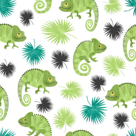 Seamless tropical pattern with green watercolor chameleons and palm leaves. Standard-Bild - 124884651