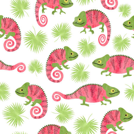Seamless tropical pattern with cute watercolor chameleons and palm leaves. Standard-Bild - 124884653