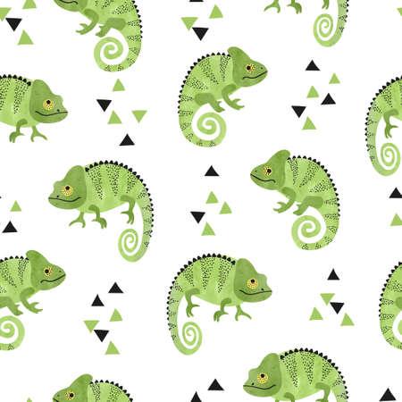 Seamless pattern with cute watercolor chameleons. Green lizards. Standard-Bild - 124884654