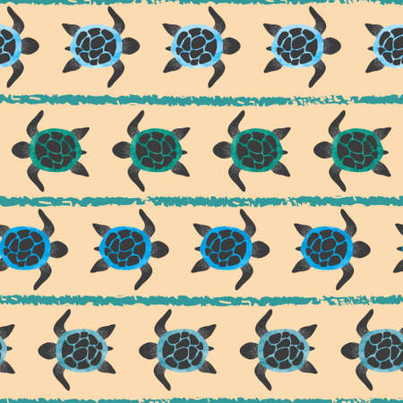 Seamless striped pattern with watercolor turtles. Illustration