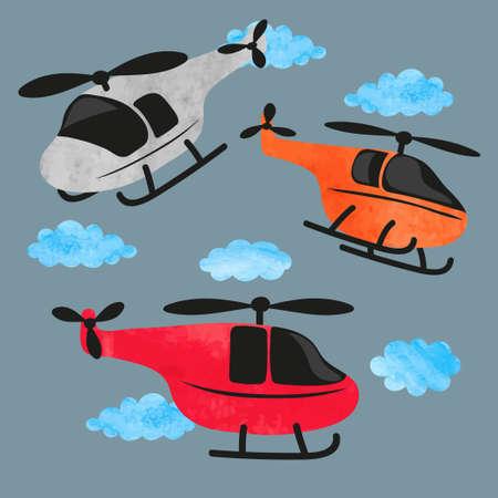 Vector set ot watercolor cartoon helicopters. Standard-Bild - 124884663