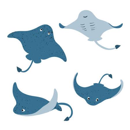 Set von niedlichen Cartoon-Stachelrochen. Vektor-Illustration von Mantarochen.