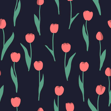 Seamless tulip pattern. Vector floral background.
