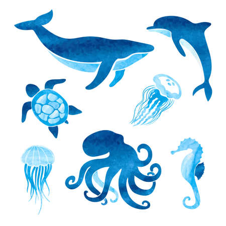 Watercolor sea animals set. Vector marine illustration of whale, dolphin, octopus, turtle, jellyfish.