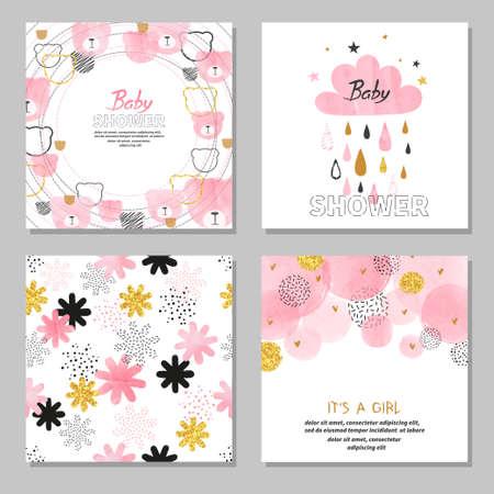 Baby Shower girl vector set. Collection of cards in pink color. Vektoros illusztráció