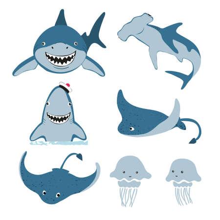 Set von niedlichen Cartoon-Meerestieren. Vektor-Illustration von Hai, Rochen, Quallen.