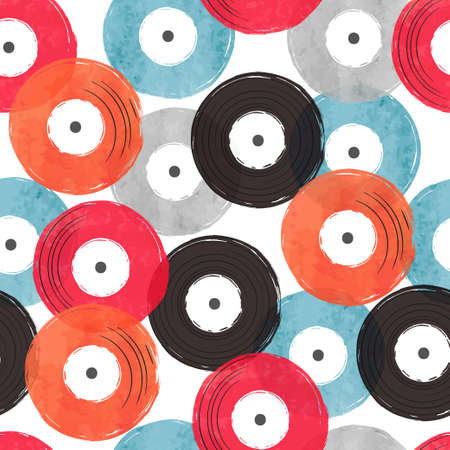 Seamless abstract retro musical pattern with colorful vinyl records.