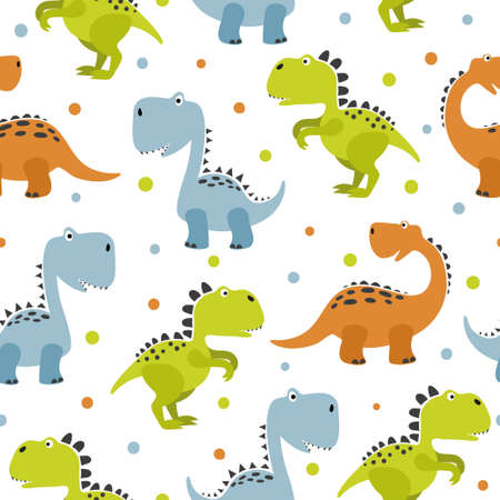 Seamless cute cartoon dinosaurs pattern. Vector colorful dino background