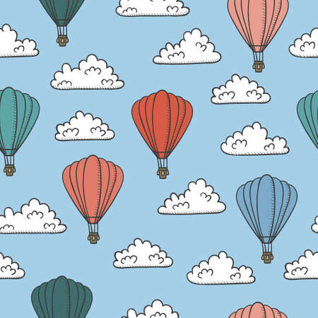 Retro seamless travel pattern with air balloons and clouds.