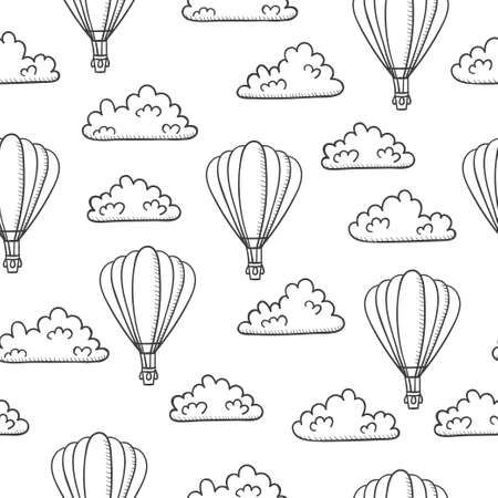 Seamless sketch travel pattern with air balloons and clouds.