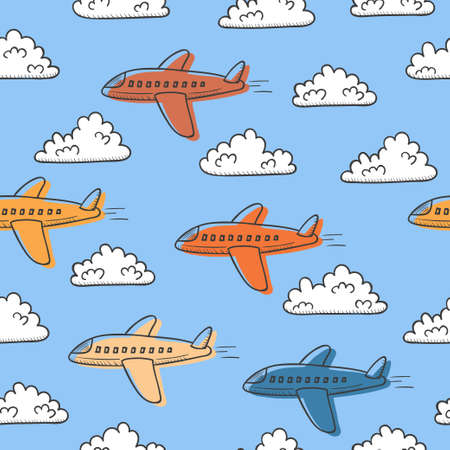 Hand drawn seamless vector pattern with planes and clouds.