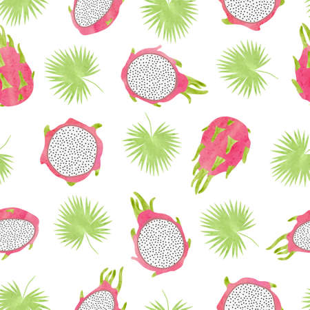 Seamless vector pattern with dragon fruits and palm leaves. Watercolor tropical background. Stock Illustratie