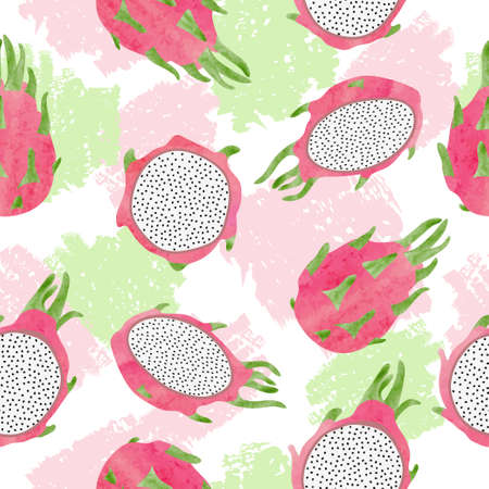 Seamless abstract pattern with dragon fruits. Vector tropical background.