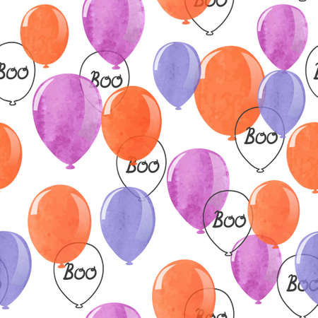 Seamless Halloween party pattern with watercolor balloons. Wrapping paper design. Stock Illustratie
