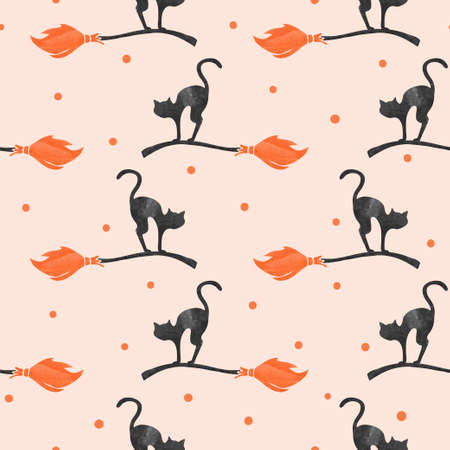 Seamless Halloween pattern with black cat and witch broom.
