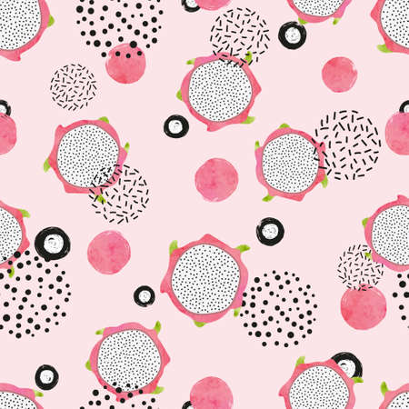 Seamless abstract pattern with dragon fruit slices. Banque d'images - 129856407