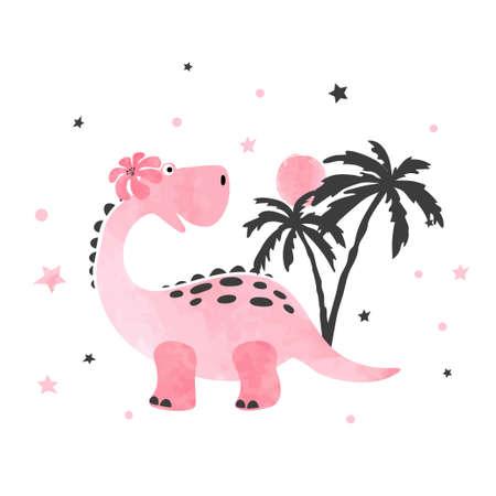 Cute little dinosaur vector illustration for kids design. Stock Illustratie