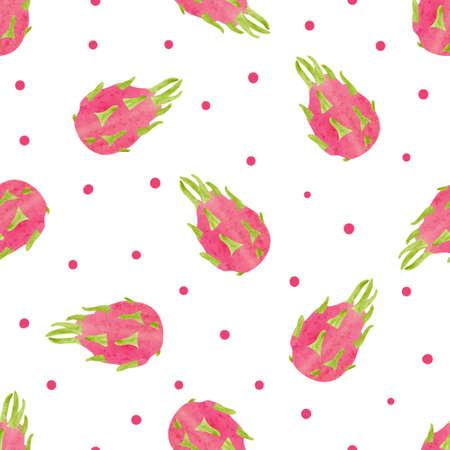 Seamless dragon fruit pattern. Vector watercolor tropical background.