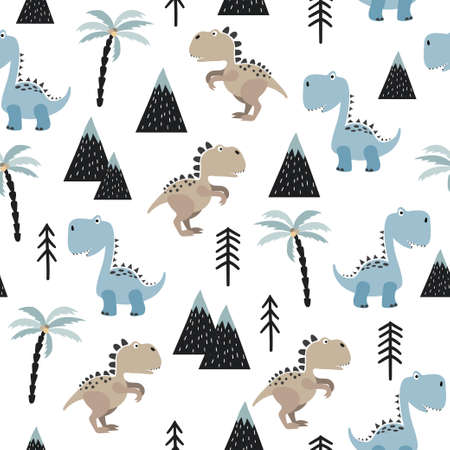 Seamless pattern with cute dinosaurs. Vector dino background for kids in scandinavian style. Çizim