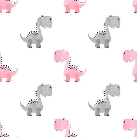 Seamless cute dinosaur pattern. Vector dino background for kids.