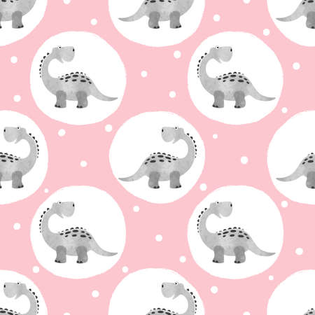 Cute dinosaur pattern. Vector dino seamless dotted background for kids.