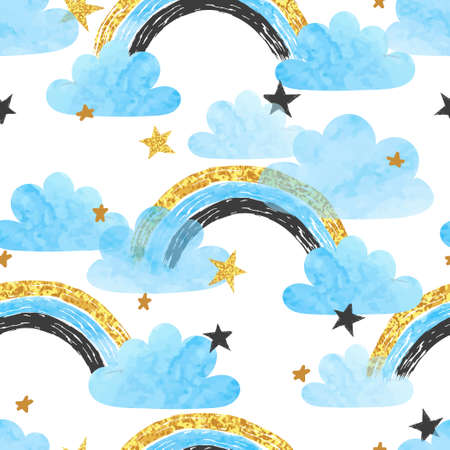 Seamless pattern with rainbows, clouds and stars. Vector watercolor illustration for kids