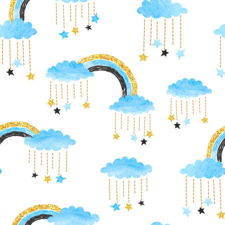 Cute seamless pattern with rainbows, clouds and stars. Vector watercolor illustration for kids.