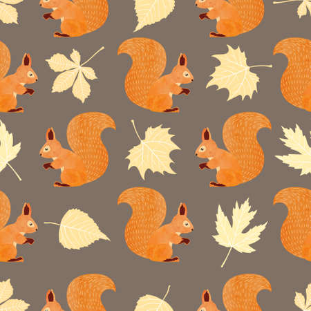 Seamless vector pattern with squirrels and autumn leaves.