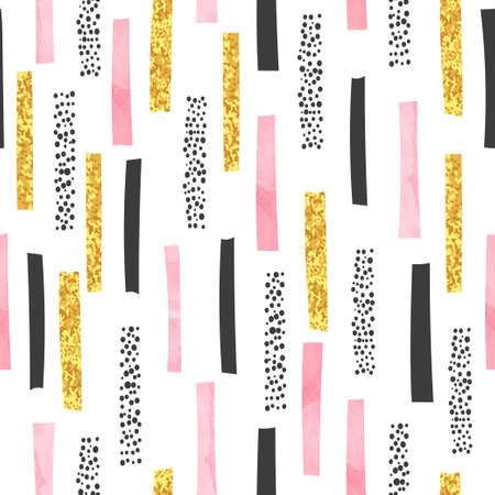 Hand drawn abstract seamless pattern with lines. Vector stripe print. Stock Illustratie