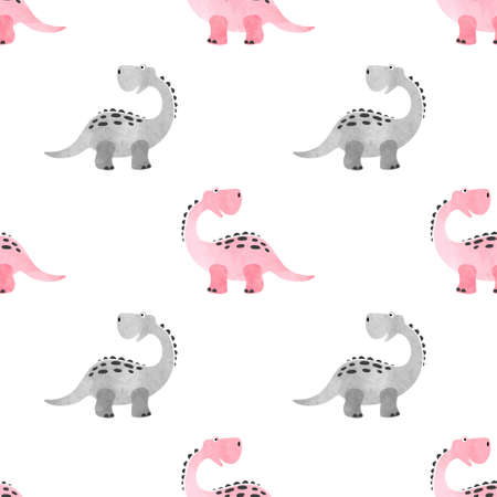 Seamless cute dinosaur pattern. Vector pink dino background for kids.