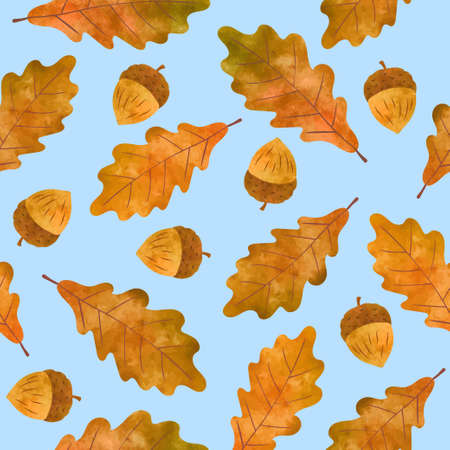 Seamless vector autumn pattern with watercolor acorns and oak leaves. Stock Illustratie