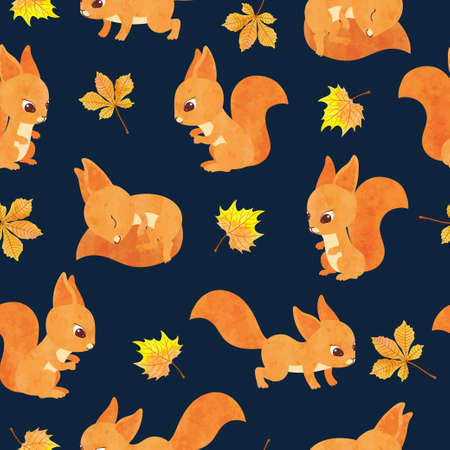 Seamless vector autumn pattern with cute squirrels and leaves.