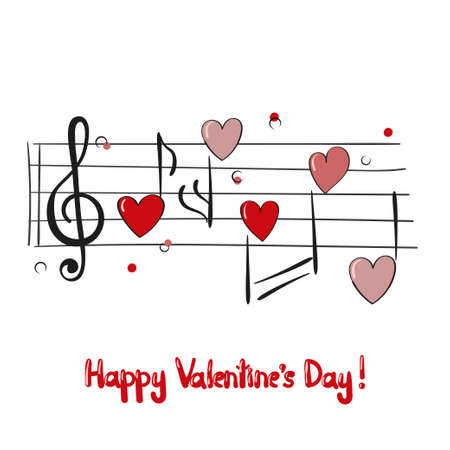 Valentines day card with music notes. Vector illustration.