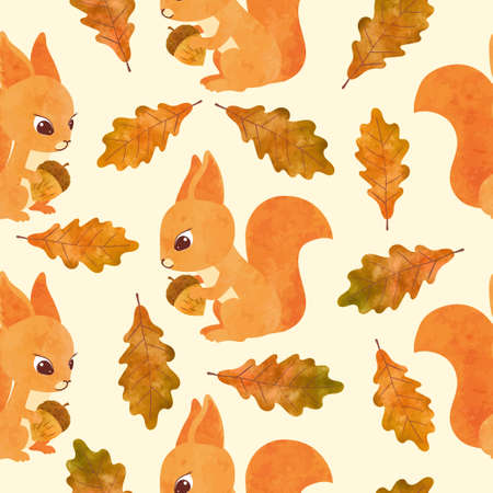 Autumn pattern with cute watercolor squirrels and oak leaves.