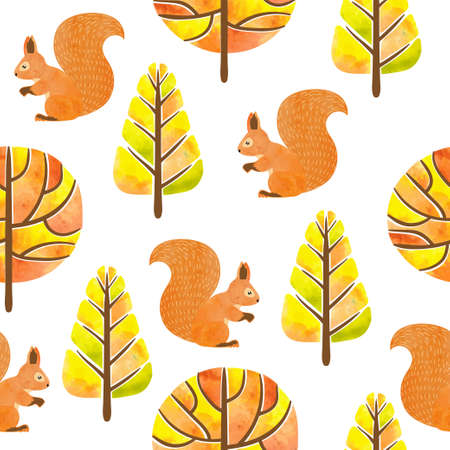 Seamless autumn pattern with watercolor squirrels and trees.