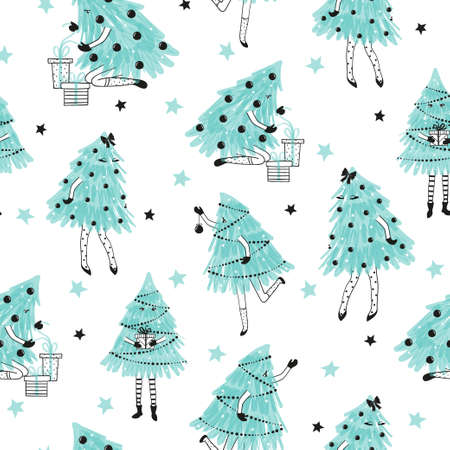 Seamless Christmas pattern with cute Christmas trees as girls. Wrapping paper design.