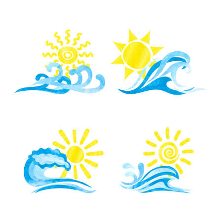 Set of sun and sea waves watercolor icons.