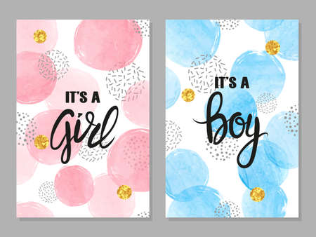 Baby shower card set. Watercolor invitation cards design for baby shower party - girl and boy