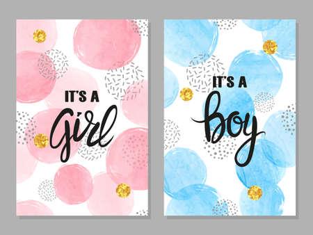 Juego de tarjetas de baby shower. Diseño de tarjetas de invitación de acuarela para baby shower - niña y niño